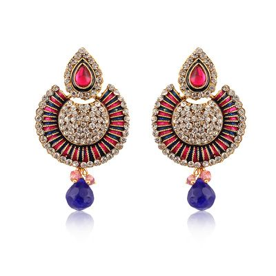 Blue And Pink American Diamond Studded Dangler Earrings Earrings on Shimply.com