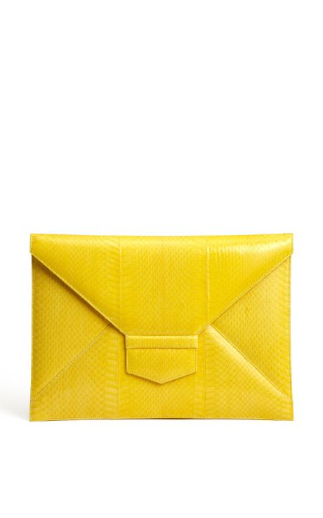 Oscar de la Renta yellow envelope clutch