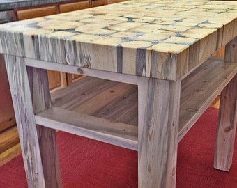 Butcher Block Kitchen Island   Handcrafted From Recycled Beetle Kill Pine    From Colorado Tables | Beetle Kill Blue Pine Kitchen Islands | Pinterest ...