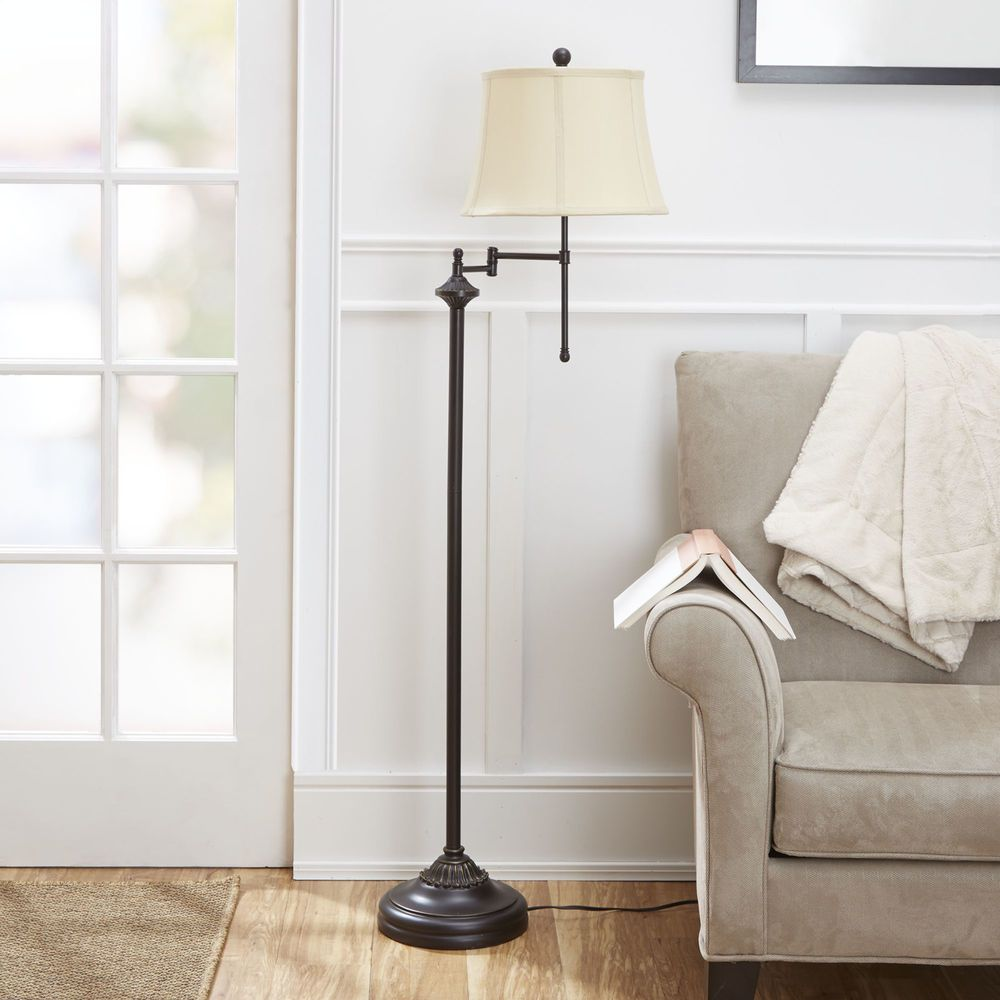 Modern Floor Lamp 59 Swing Arm Light Shade Bronze Finish Stand Cfl Bulb Includ Collectibles Lamps Light Vintage Floor Lamp Swing Arm Floor Lamp Floor Lamp