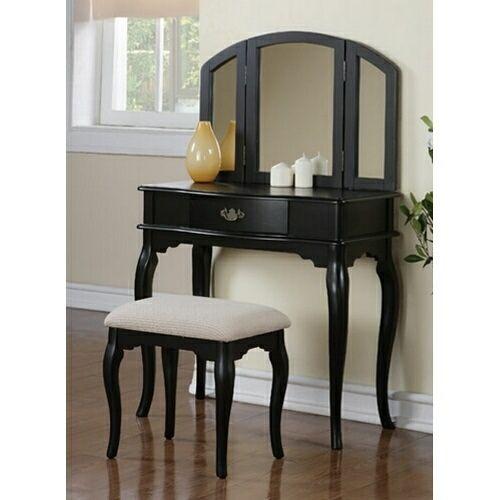 Poundex F4067 3 pc black finish wood make up bedroom vanity ...