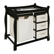 Badger Basket Sleigh Changing Table with Hamper and 3 Baskets - Black-buybuy BABY
