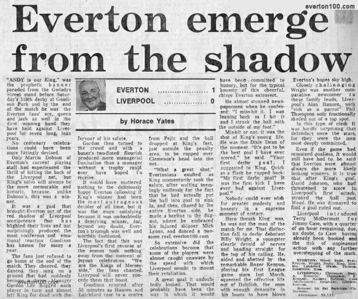 Everton  Liverpool  In Oct  At Goodison Park Newspaper