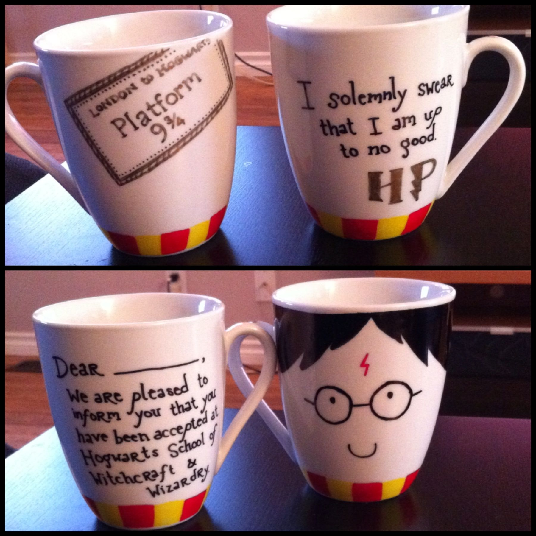 harry potter themed sharpie mugs i made front back xo. Black Bedroom Furniture Sets. Home Design Ideas