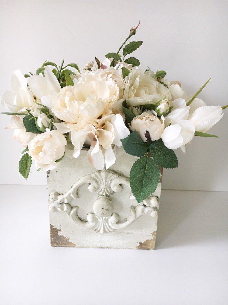Antique White Flower Wall Box Offwhite Flower Wall Decor Shabby Chic Silk Flower Arrangement Vinta Silk Flower Decor Flower Wall Decor Flower Decorations