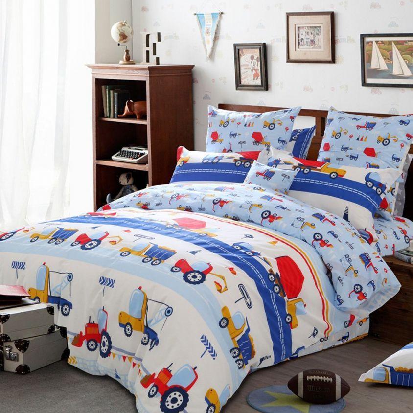 Blue Kids Boys Bedding Trucks Tractor, Full Size Bedding For Toddler Boy
