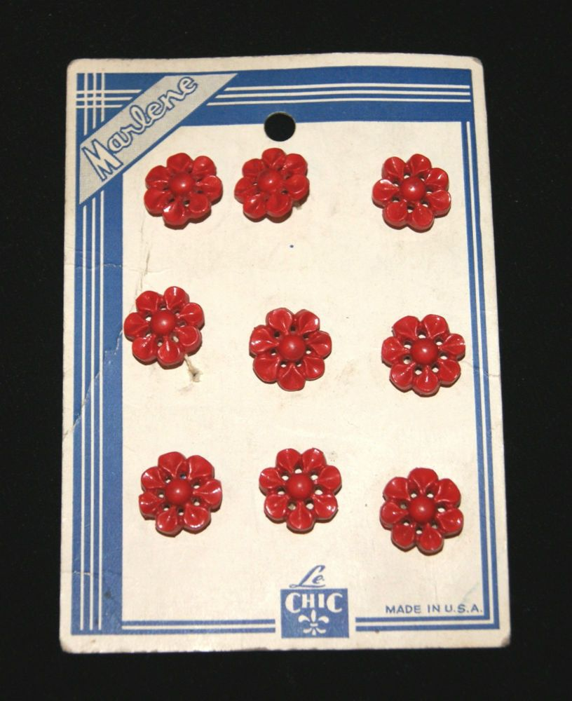 NOS LE CHIC 1940s 50s Vintage 9 Red Flower Button Set on Original Display Card in Plastic | eBay