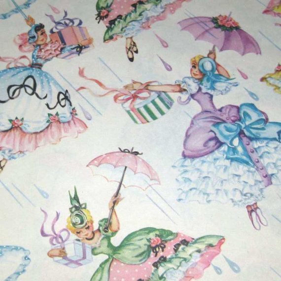 vintage bridal shower wrapping paper or gift by grandmothersattic 495