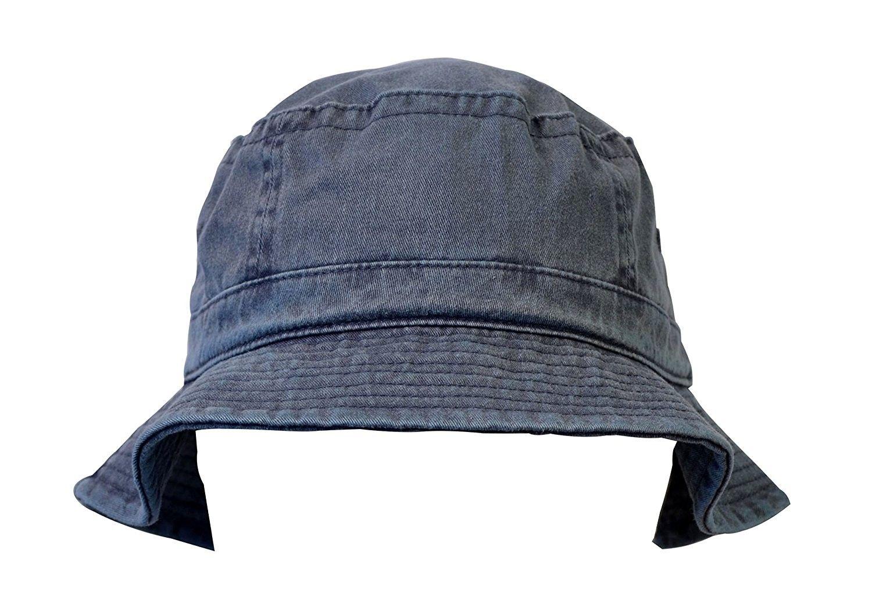 65fd6aed91aec Packable Denim Bucket Hat- Unisex Washed Cotton Summer Travel Hat ...