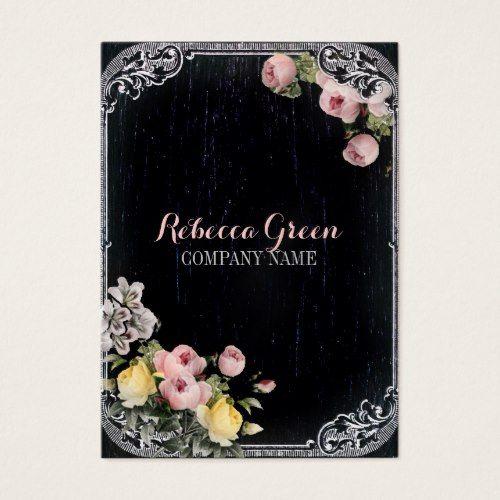 Rustic elegant vintage botanical chalkboard floral business card fashion girly vintage flowers chalkboard business card reheart Choice Image
