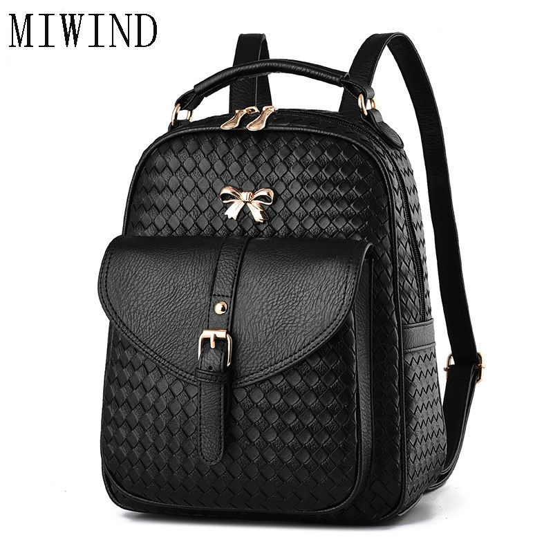 2017 NEW Vintage Women Backpack Stylish Daypack Youth Leather School  Shoulder Bagpack Female Casual Lady Bag for Teenage TTY506 c77e1c04255ba