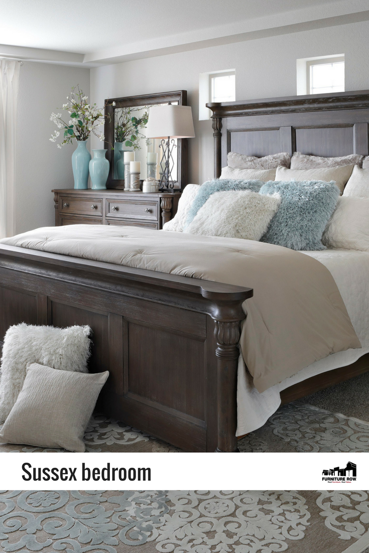 Casual yet traditional the sussex panel bedroom is elegantly finished in rich taupe gray over solid rubberwood bedroomdesign traditionalhomedecor