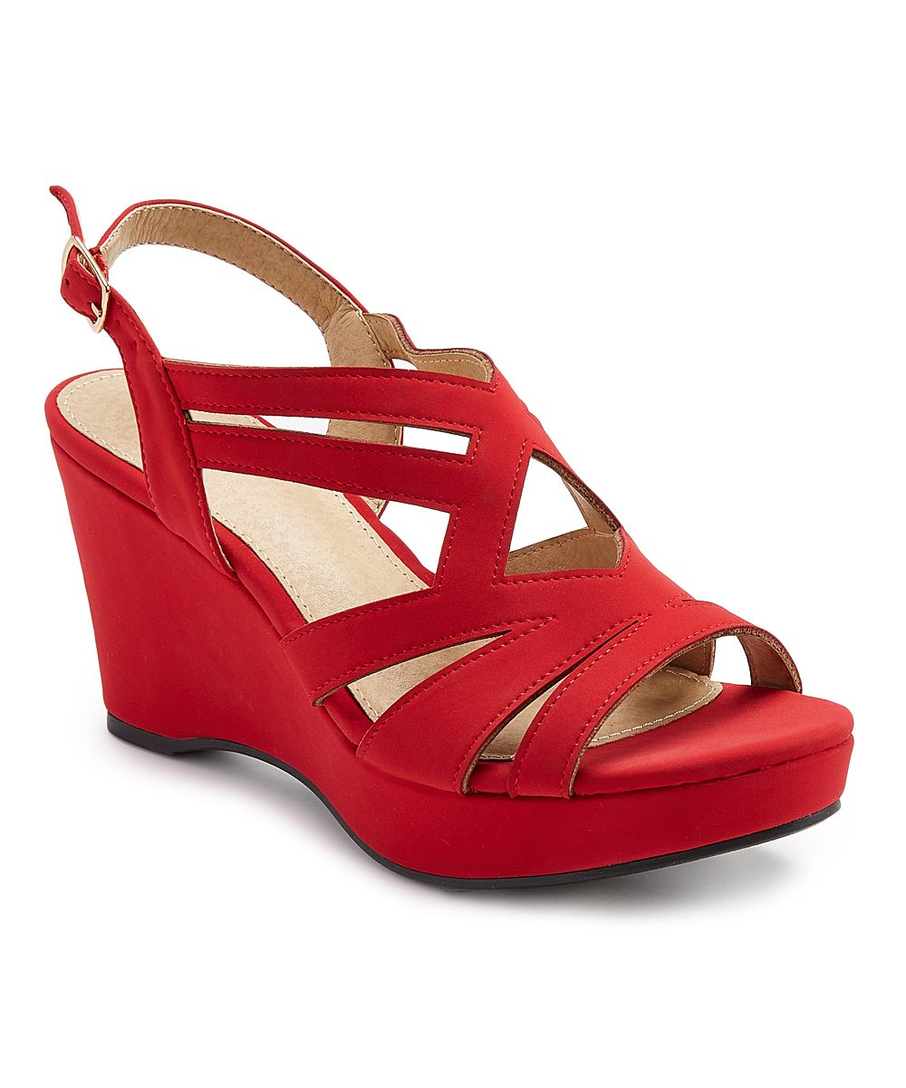 758229c38c0 Red Strappy Wedge Sandal