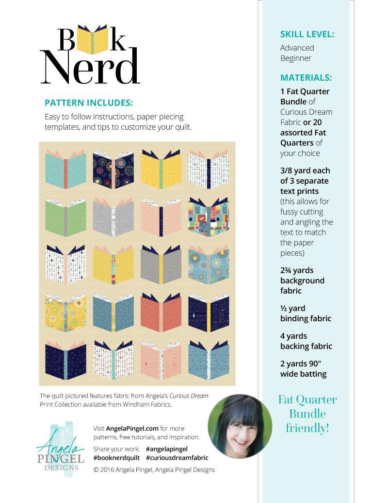 Book Nerd Digital Pdf Pattern Quilt Pattern Book Book Quilt Quilt Patterns
