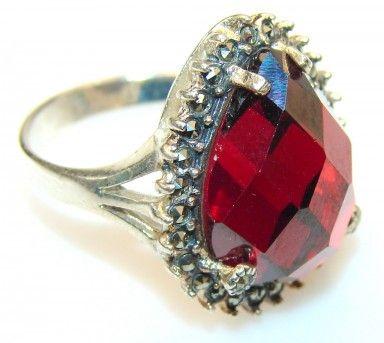 Stylish Red Garnet Quartz Sterling Silver Ring s. 8 1/2
