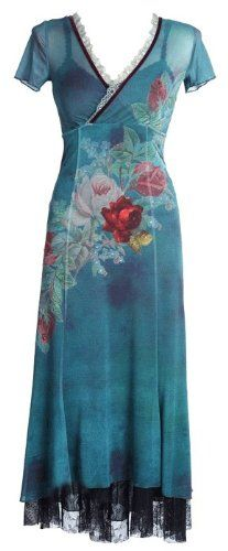 Michal Negrin Short Sleeves V-Neck Special Occasion Romantic Dress with Victorian Large Flower Print, Lace Trim Accented Hemline