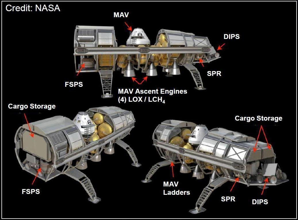 NASA Mars EDL Horizontal Cargo Lander Concept   Above and ...