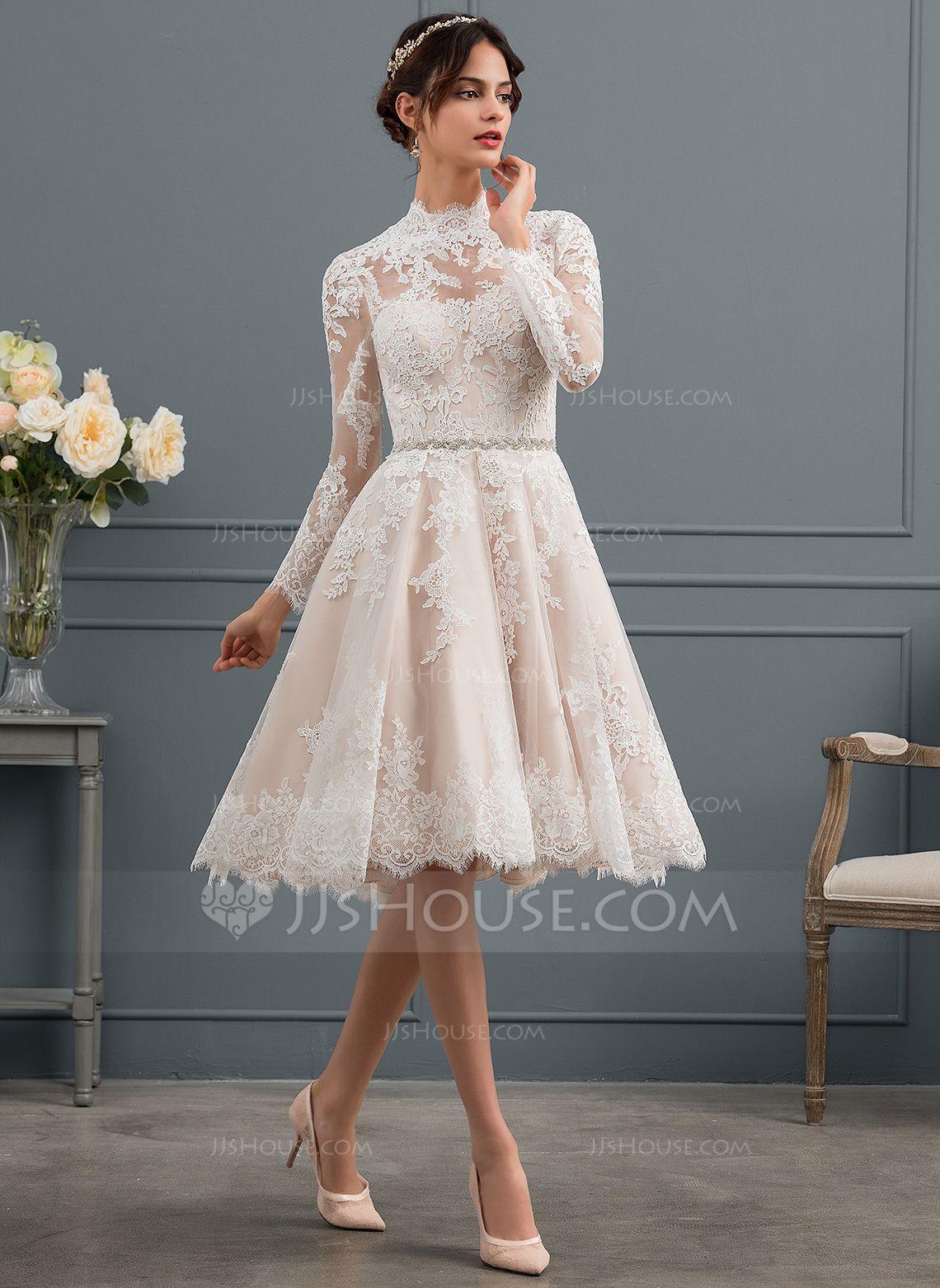 A Line Princess High Neck Knee Length Lace Wedding Dress Wedding