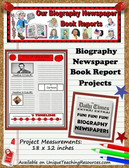 Biography Book Report Newspaper templates, worksheets, and - project quarterly report template
