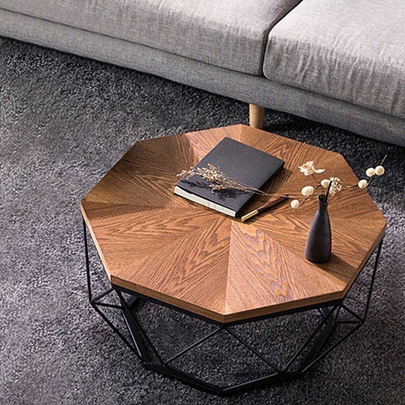 Contemporary Geometric Wood Coffee Table Walnut End Table