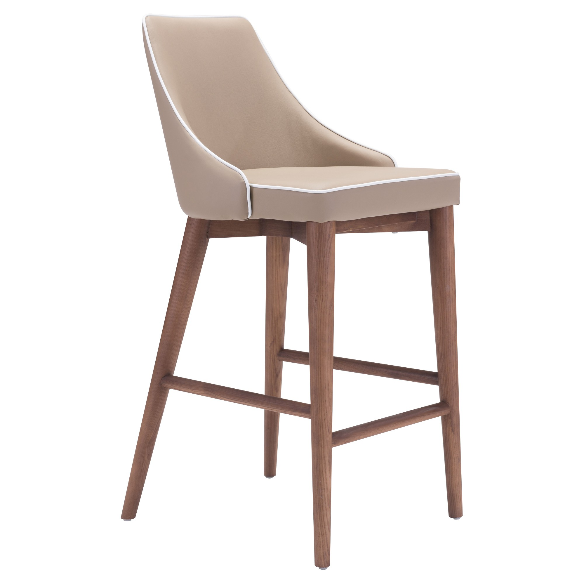 Wing Back Faux Leather 26 Counter Stool Beige Zm Home Products