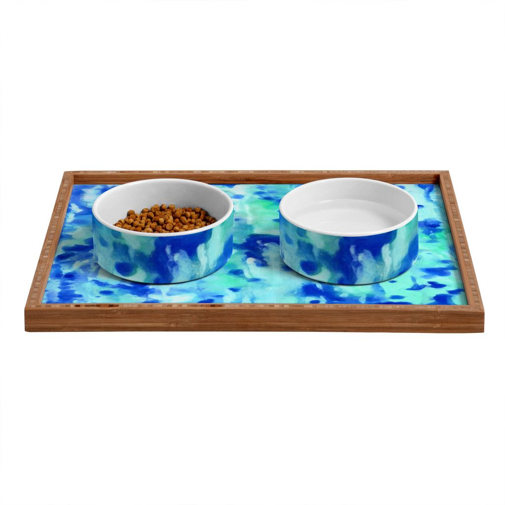 Rosie Brown Blue On Blue Pet Bowl and Tray | DENY Designs Home Accessories#bowl #tray #pets #dog #cat #art #denydesigns