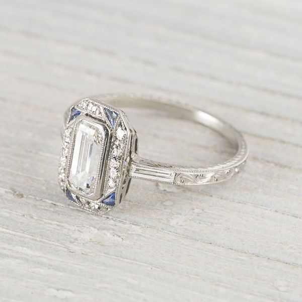 .90 Carat Sapphire & Diamond Vintage Art Deco Engagement Ring   Erstwhile Jewelry Co.