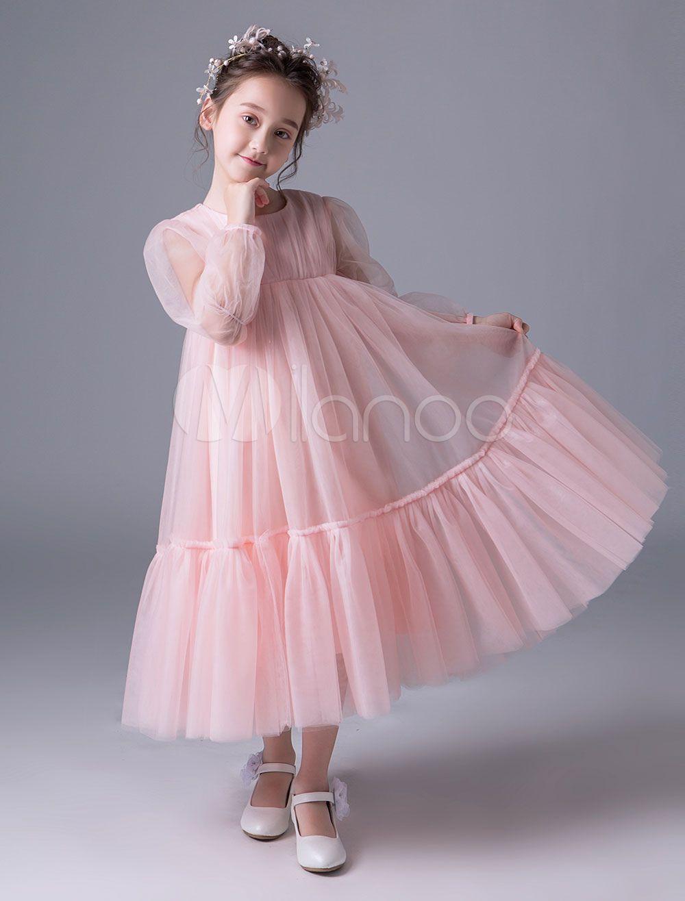 14cf0e0e292 Pink Flower Girl Dresses Boho Long Sleeve Empire Waist Princess Dress Kids  Tea Length Party Dresses - Milanoo.com