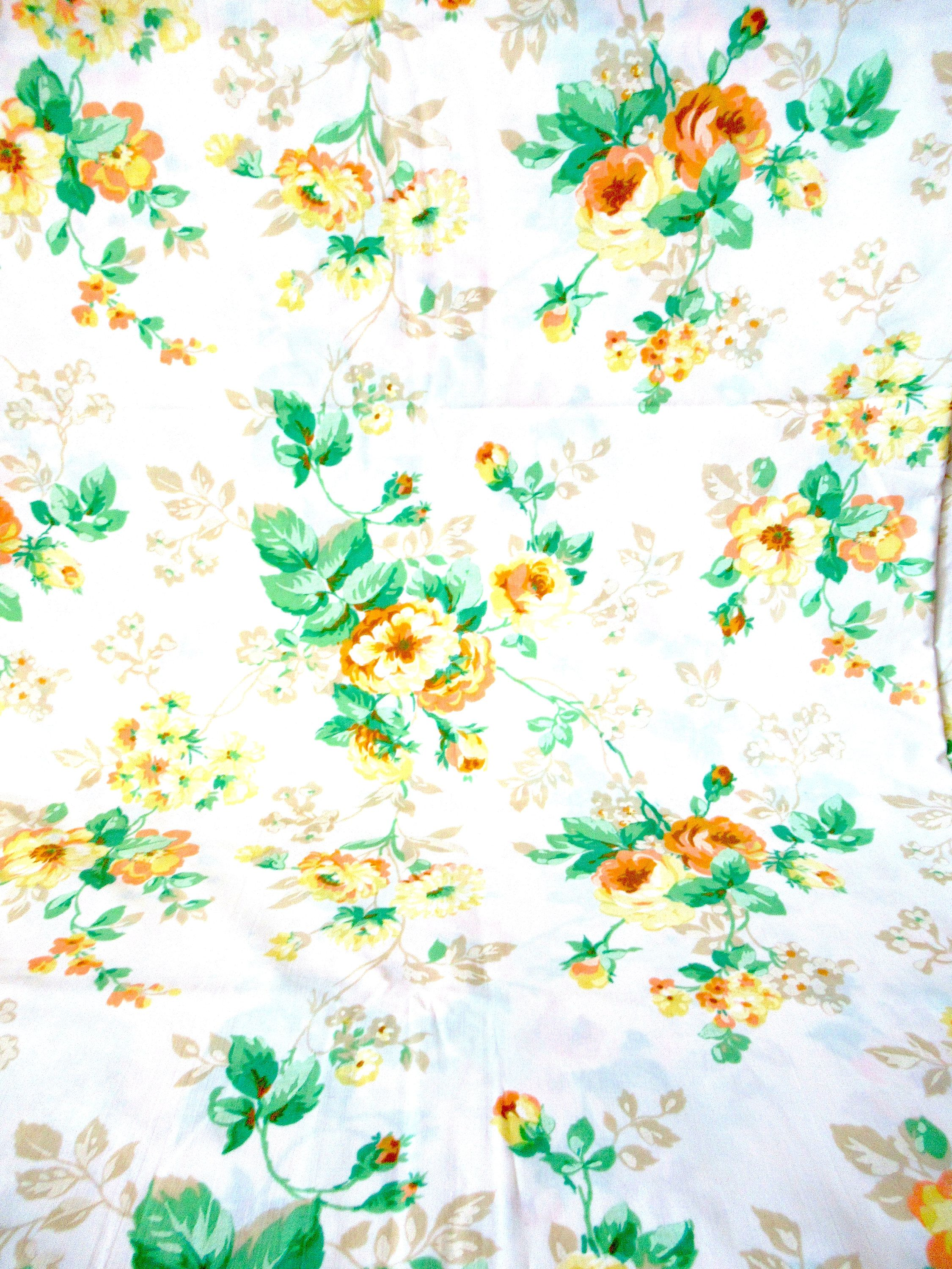 Vintage Bedding, Sheet Tablecloth, Vintage Fabric, Country Bed Sheet, King  Bed Size, King Bed Sheet, Yellow Flower Fabric, Flower Fabric By  Lovesknitting On ...
