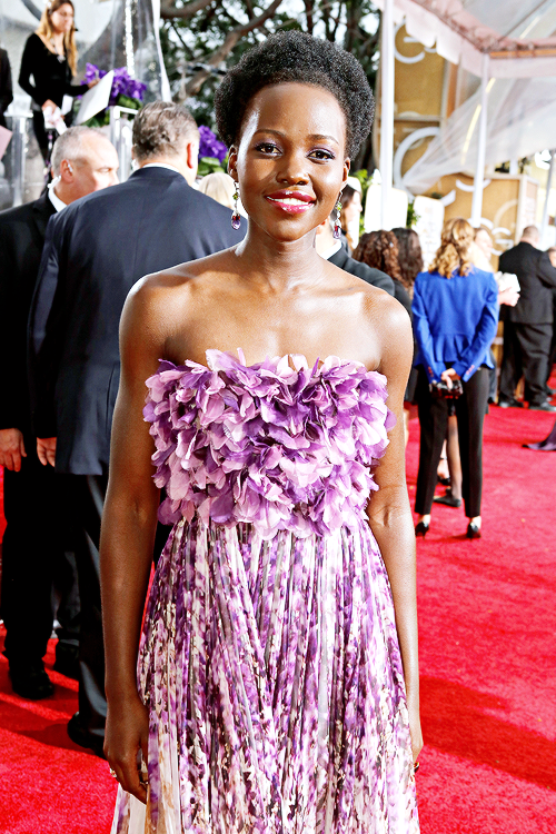 Lupita Nyong'o arrives to the 72nd Annual Golden Globe Awards held at the Beverly Hilton Hotel on January 11, 2015.