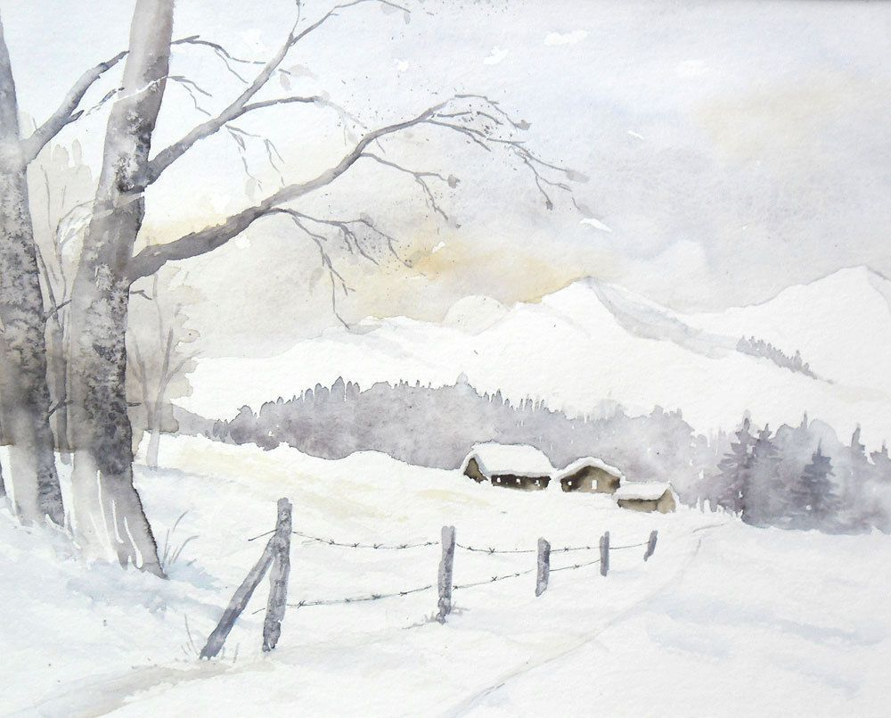 Winter In Den Bergen Aquarell Original 24 X 32 Cm Schnee