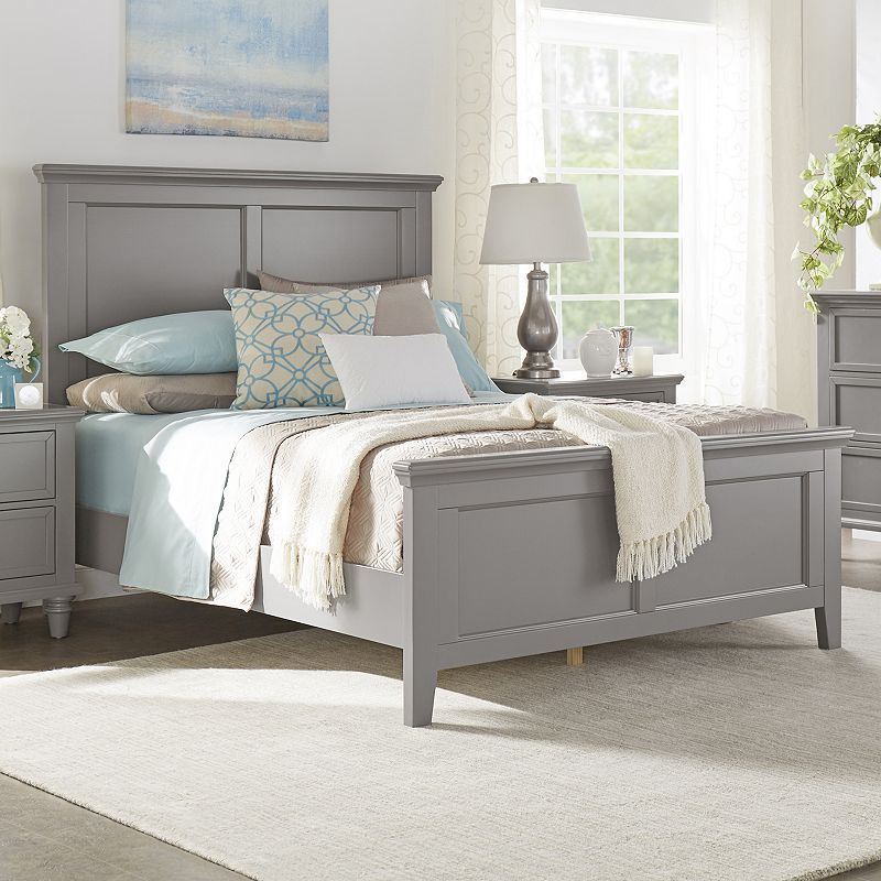 Homevance Augustine Paneled Bed Grey Or White Twin Needs Boxspring 580 Panel Bed