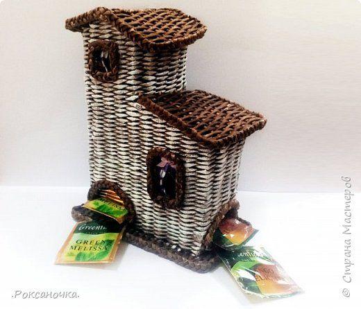 Поделка изделие Плетение Чайный домик Плетение из газет Мини МК Бумага газетная Трубочки бумажные фото 1