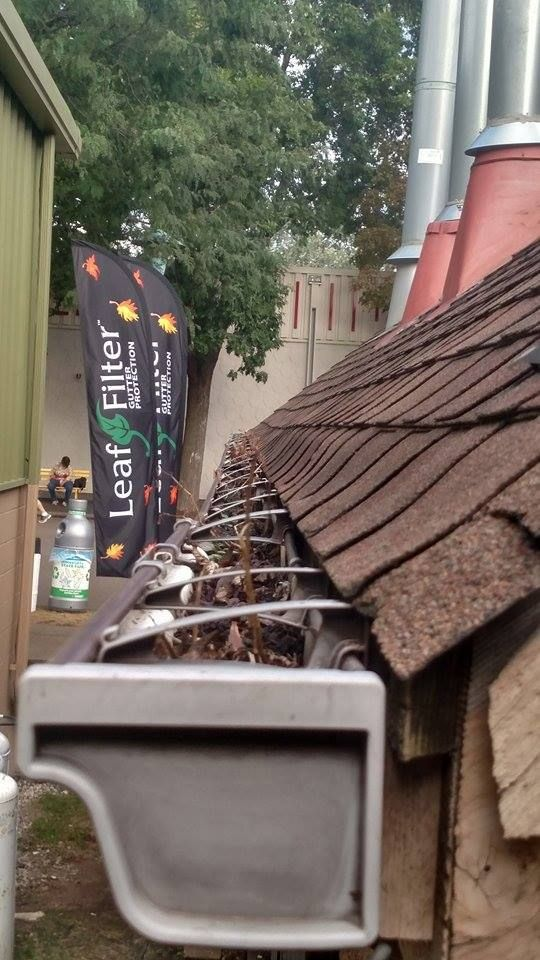 Gutters Full Of Dirt And Debris Leaffilter Eliminates Gutter Cleaning For Life And We Install On Your Existing Gut Cleaning Gutters Gutter Protection Gutter