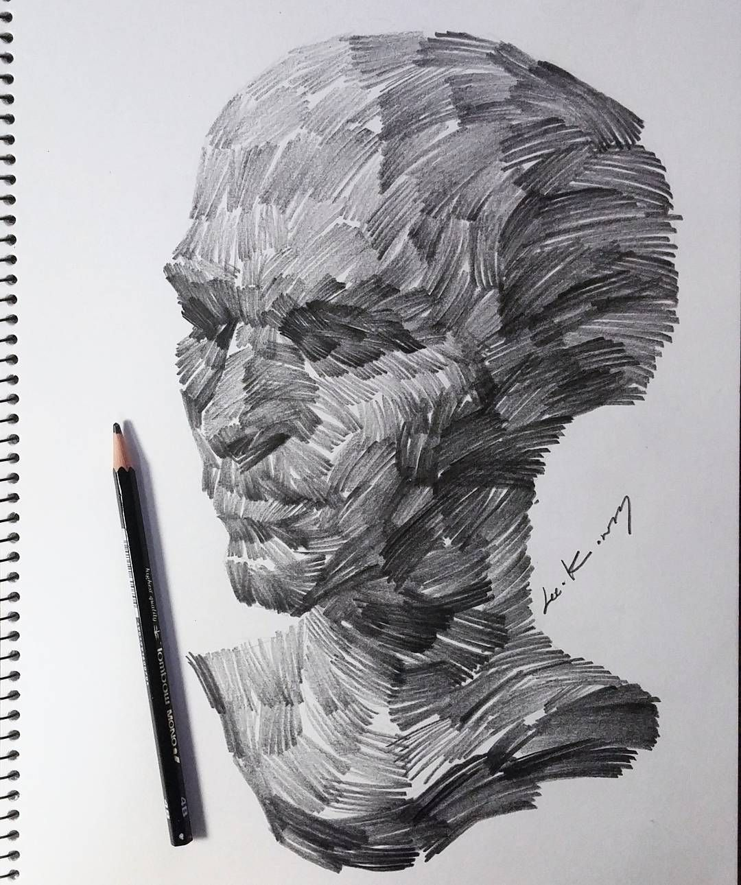 Drawing Faces with Graphite Pencils | Abstract sketches ...