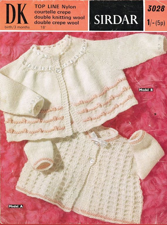 baby matinee coat and cardigan vintage knitting pattern PDF instant ...