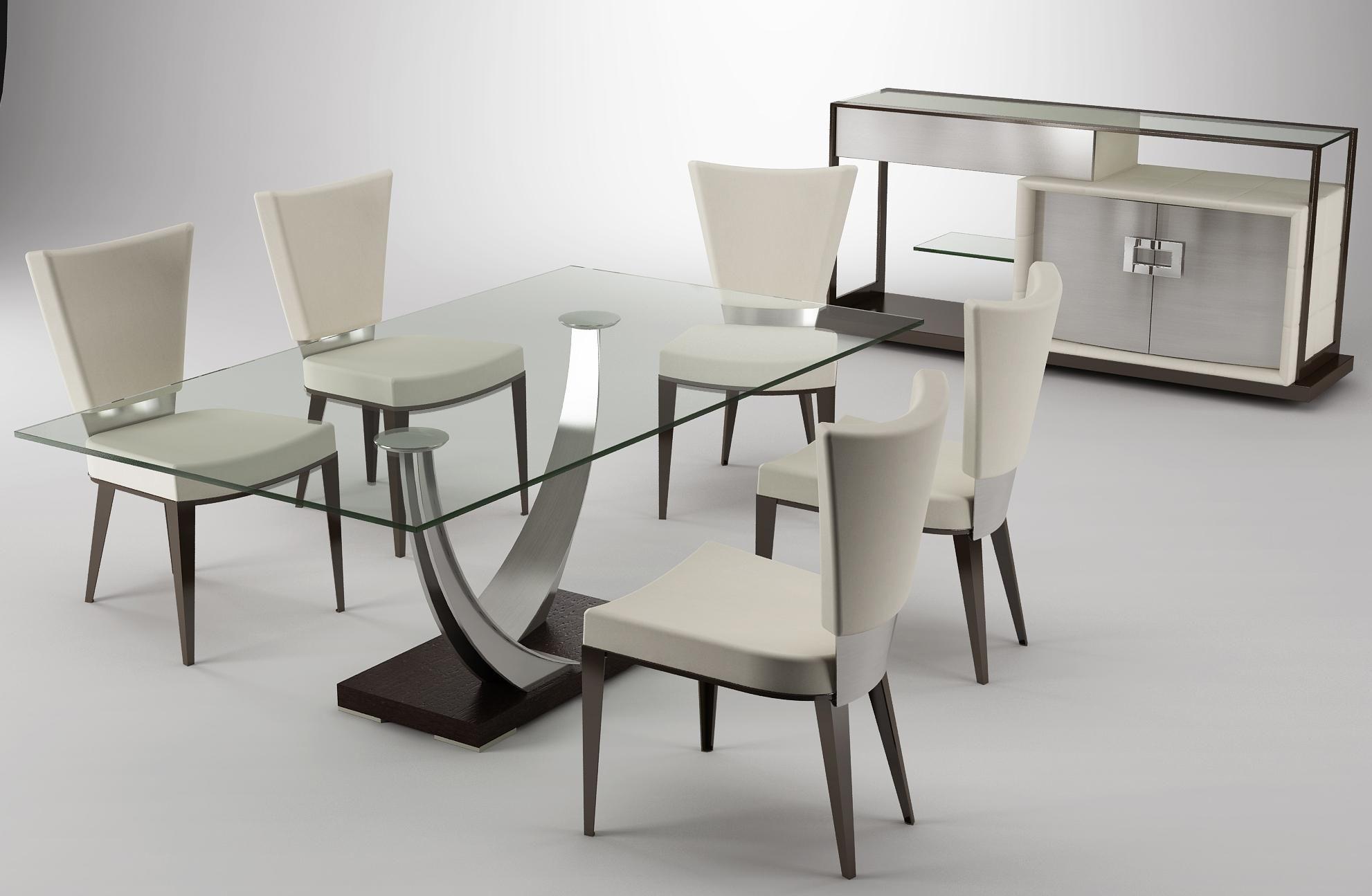 Modern Dining 6 Piece Table Modern Glass Dining Room Modern Dining Room Tables Dining Room Decor Modern