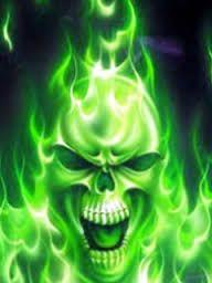 Image Result For Green Flaming Skull Wallpaper