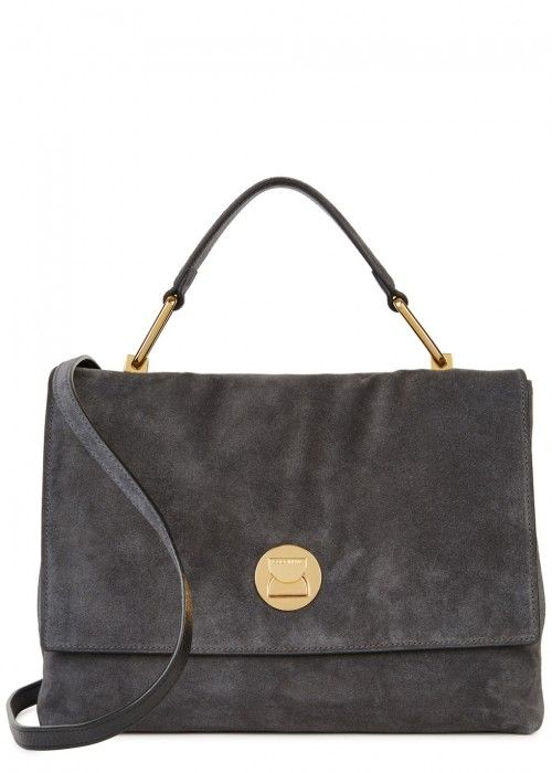 a6a50232b4 COCCINELLE LIYA CHARCOAL SUEDE SHOULDER BAG.  coccinelle  bags  shoulder  bags  hand bags  suede  lining