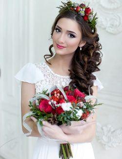 Свадебные прически с ободком из цветов 68