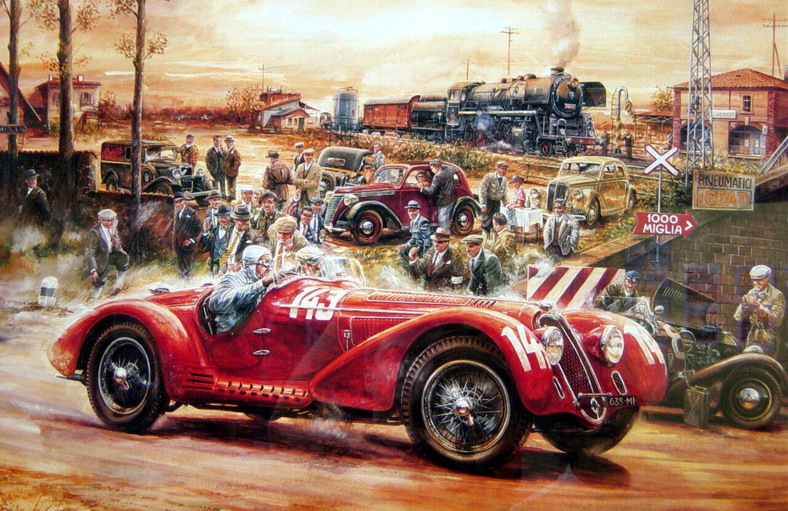 Framed Print - Vintage Car Race (Car Picture Poster F1 Ferrari ...