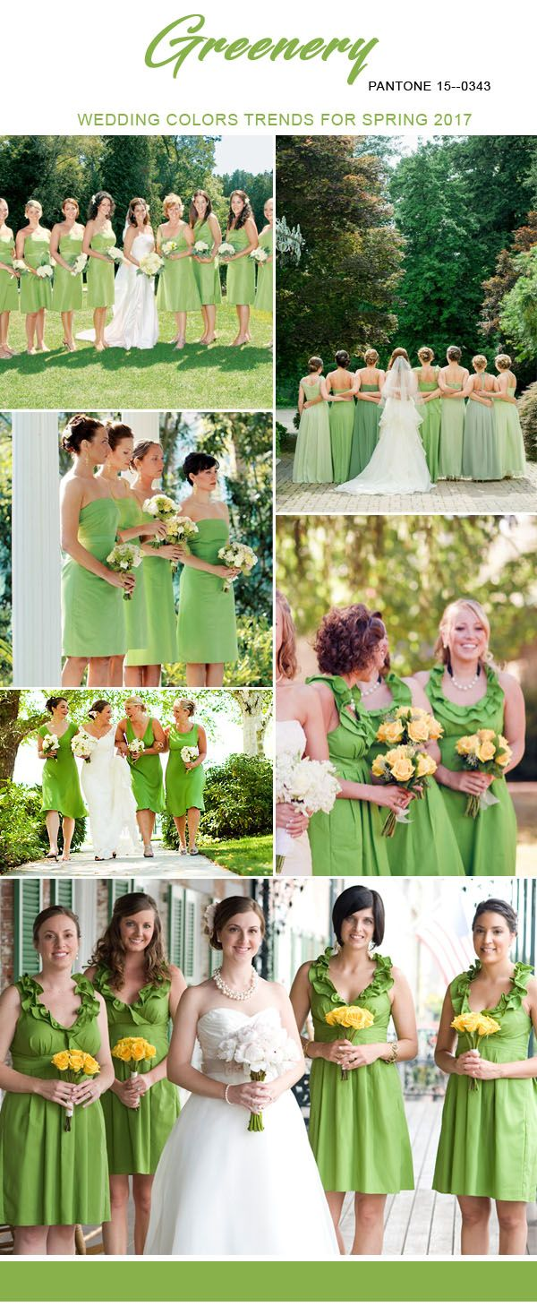 Top 10 bridesmaid dresses colors for spring 2017 inspired by greenery wedding colors trends for 2017 spring bridesmaid dresses junglespirit Choice Image