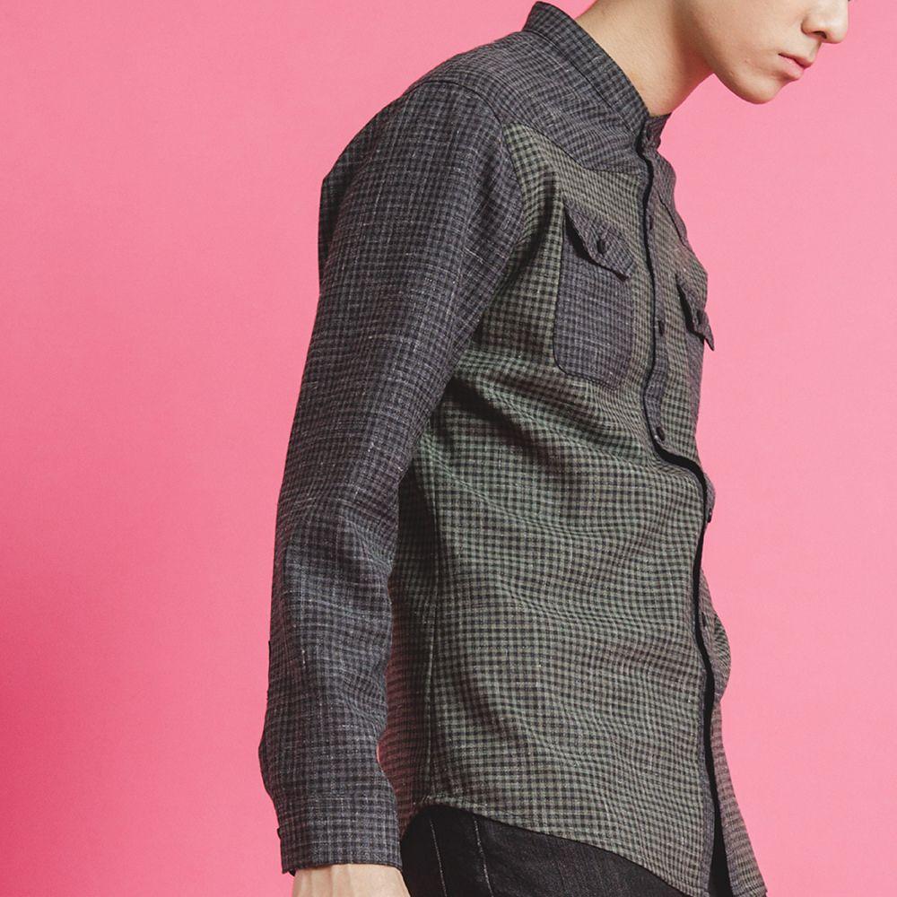蠢蠢欲動-黑綠拼接小格紋羊毛中山領長袖襯衫 - NANHI 男孩 | Pinkoi