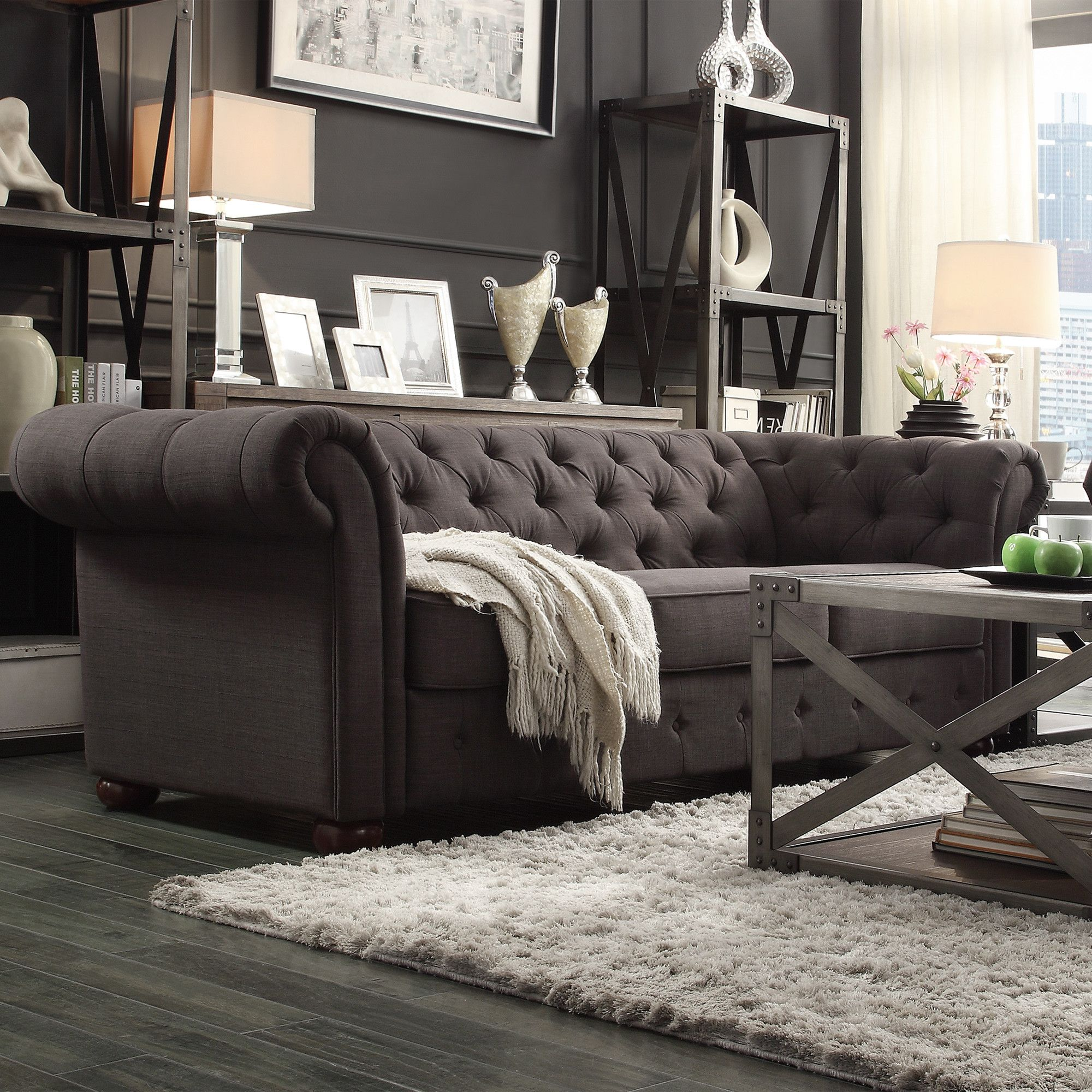 Tufted Button Sofa Sectional Leather Black Kingstown Home Carthusia Allmodern A