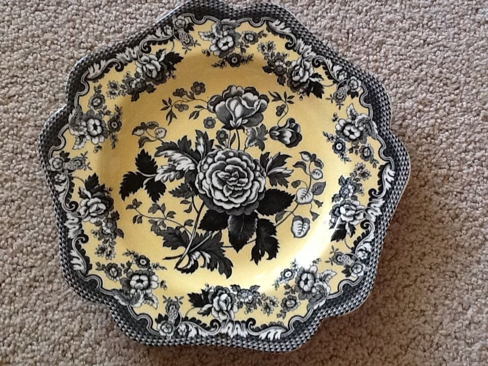 SPODE ENGLAND ARCHIVE BRITISH FLOWERS ROSA 9\  PLATE YELLOW AND BLACK TOILE # & SPODE ENGLAND ARCHIVE BRITISH FLOWERS ROSA 9\