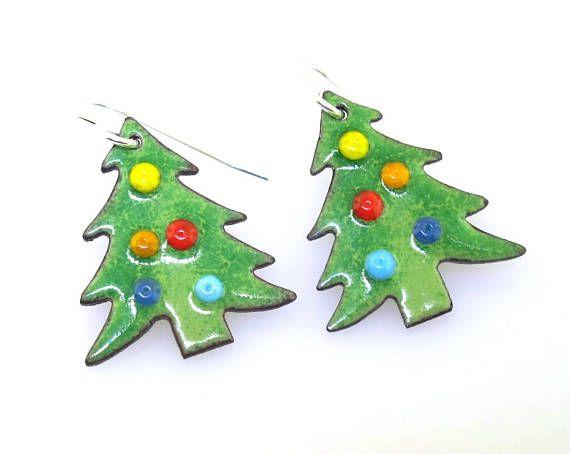 2e2c028eb Christmas Tree Earrings, holiday jewelry, holiday earrings, Christmas  jewelry, green glass enameled