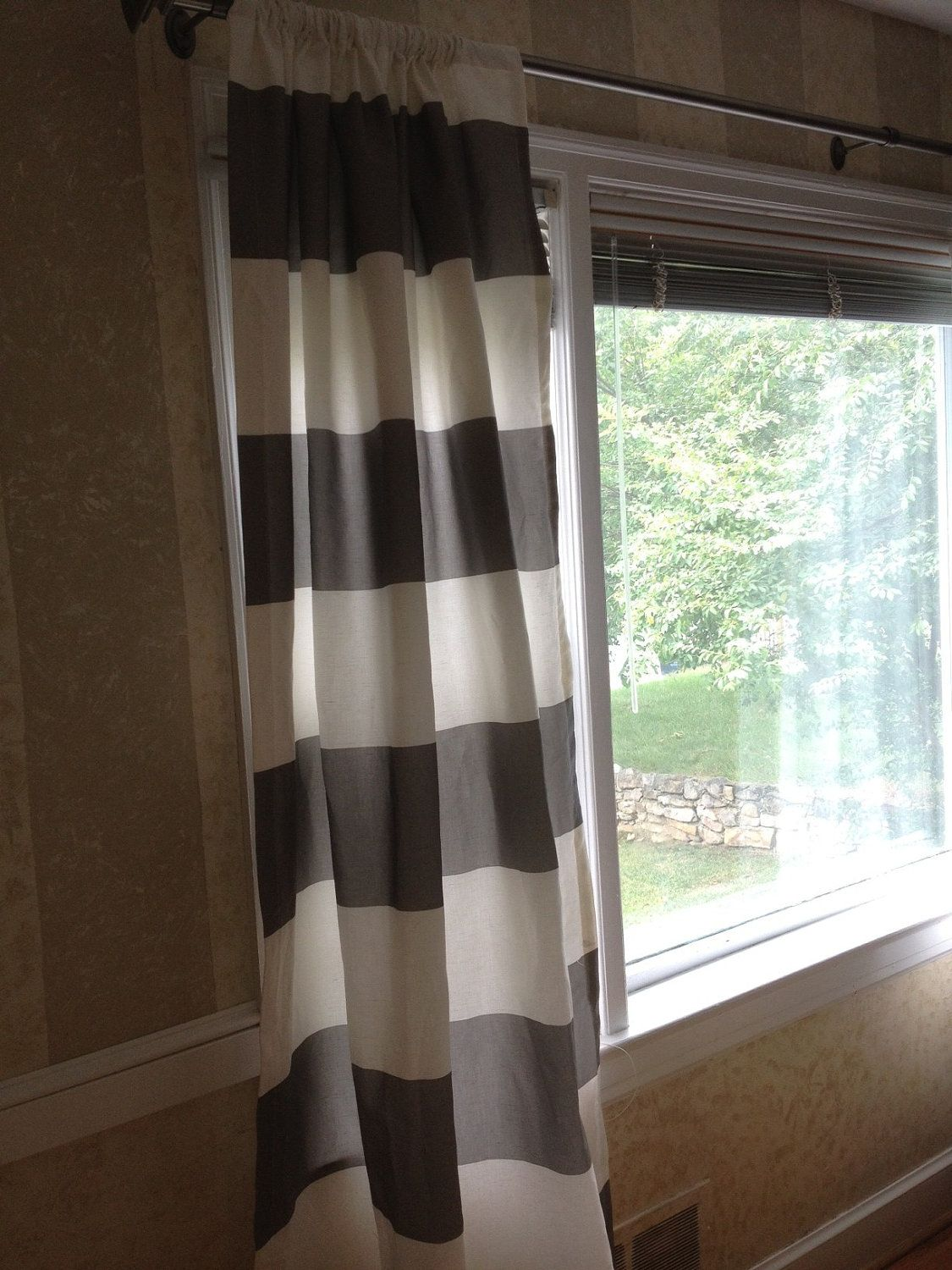 Nursery window ideas  grey u white horizontal stripe drapes etsy nursery idea  baby oh