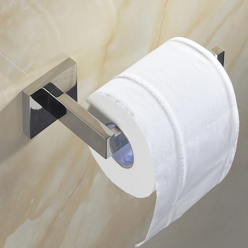 Modern Square Bathroom Toilet Tissue Paper Roll Holder Chrome /& Towel Ring Set