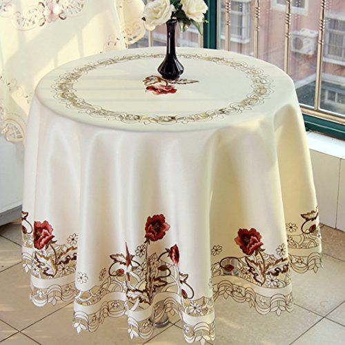 Luxury Cutwork Handmade Embroidery Floral Jacquard Table Cloths Cover Round 68 Inch Approx Party Table Cloth Tablecloth Fabric Table Cloth