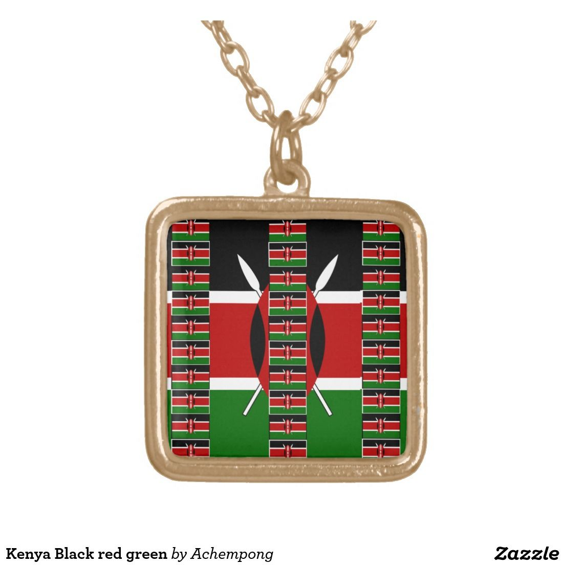 Your Custom Gold Finish Square Necklace Kenya Black Red Green